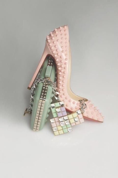 Pink studded pastel Christian Louboutin high heel shoes and mint pale green clutch bag - accessories still-life - http://pinterest.com/arenaint