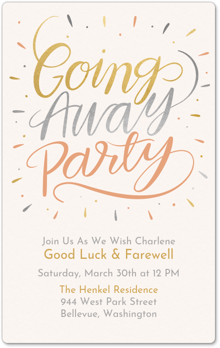 Throw A Farewell Going Away Party With This Premium Evite Invitation Going Away Parties Farewell Parties Farewell Party Invitations