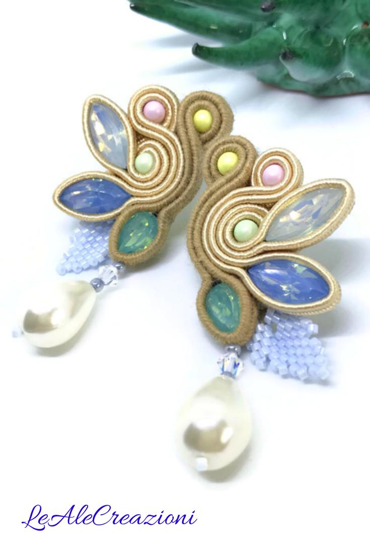 5a5c8fa5a Bridal Jewelry · Jewelry Art · Spring Theme · Soutache earrings Dainty  Earrings, Art Deco Earrings, Soutache Earrings, Earrings Handmade, Handmade