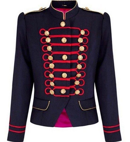 Chaqueta militar roja y azul