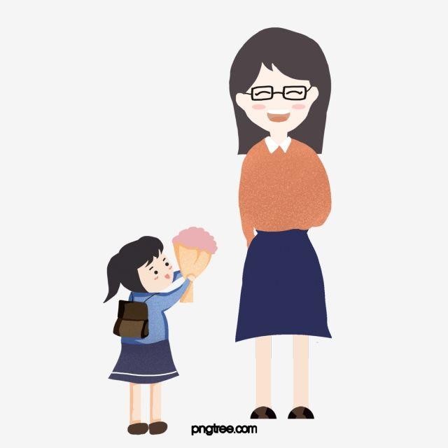 يوم المعلم طالبة معلمة تقدم هدايا من الزهور يوم المعلم الطالبات المعلم Png وملف Psd للتحميل مجانا Giving Flowers Flower Gift Teachers Day