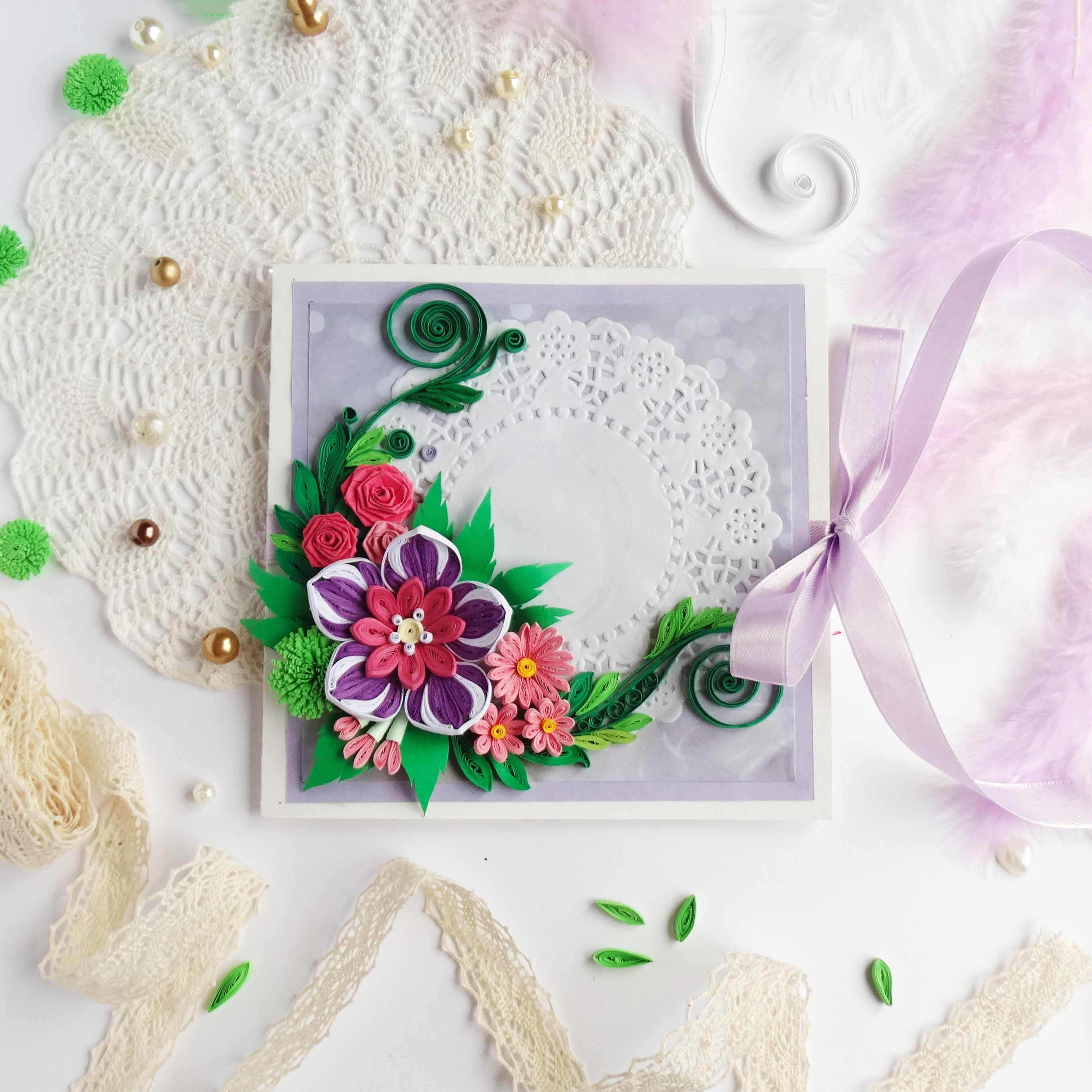quilling greeting card birthday card for her floral card