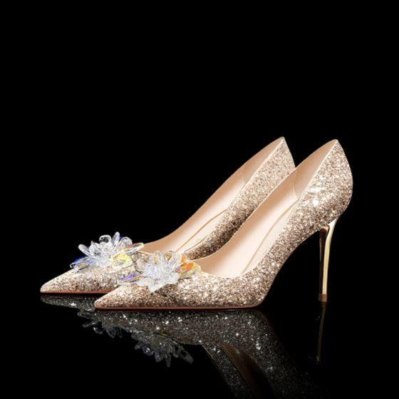 Luxury Gorgeous Gold Crystal Wedding Shoes 2020 Leather Sequins 8 Cm Stiletto Heels Pointed Toe Wedding Pumps In 2020 Crystal Wedding Shoes Stiletto Heels Wedding Shoes