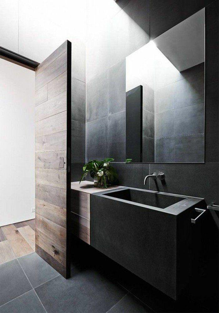 Salle de bain noire et la faience leroy merlin sol en - Faience salle de bain zen ...