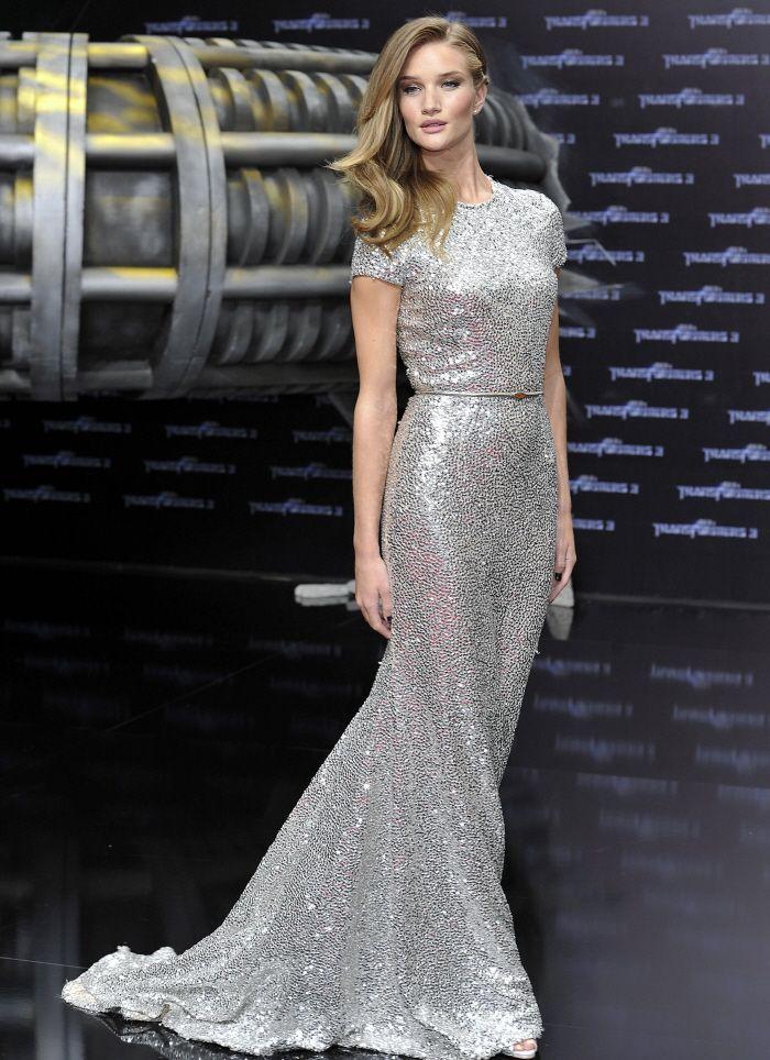rosie huntington whiteley silver dress  476d3d42c9bf