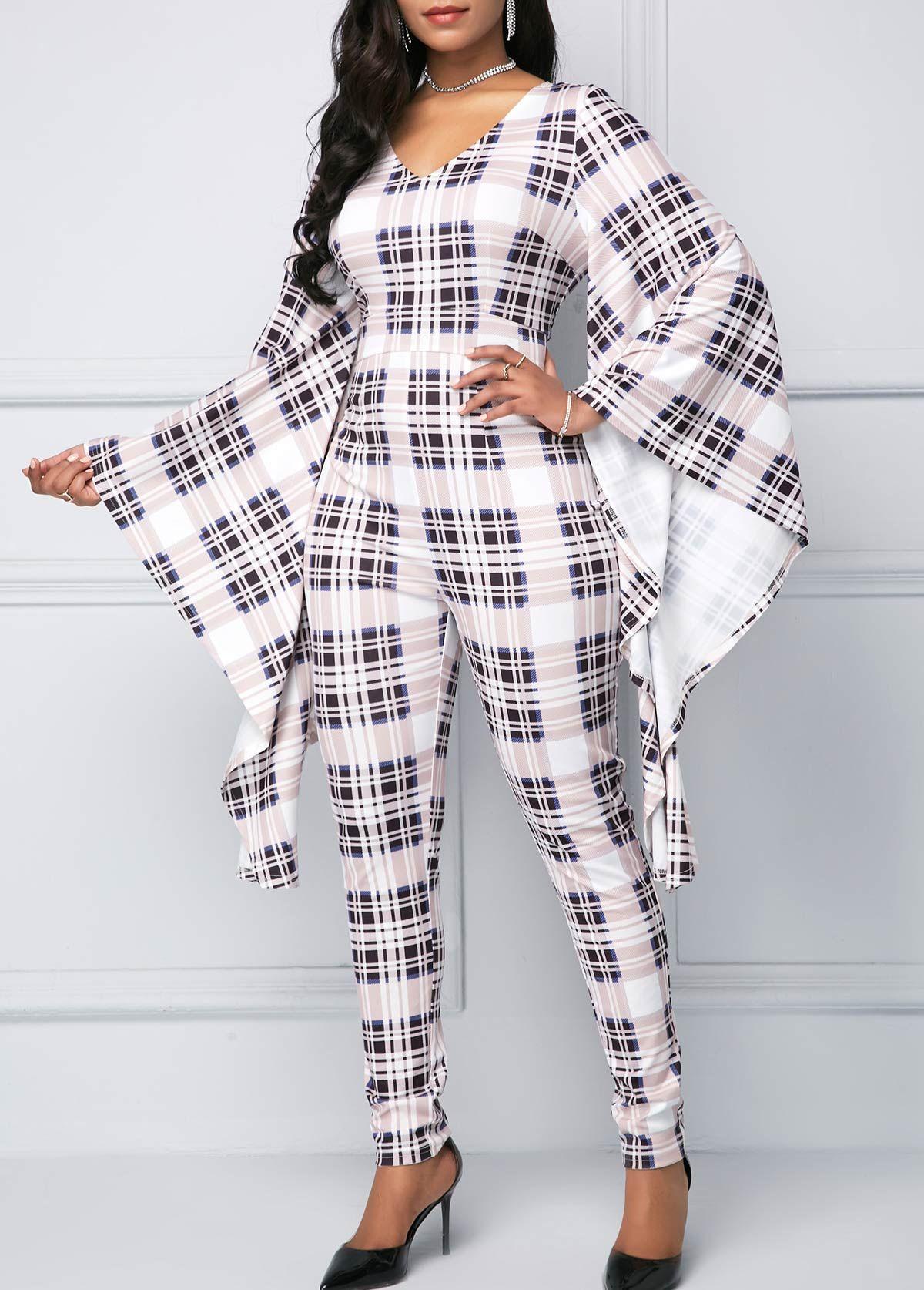 3cb6f16fc15 Flare Sleeve Plaid Print V Neck Skinny Jumpsuit