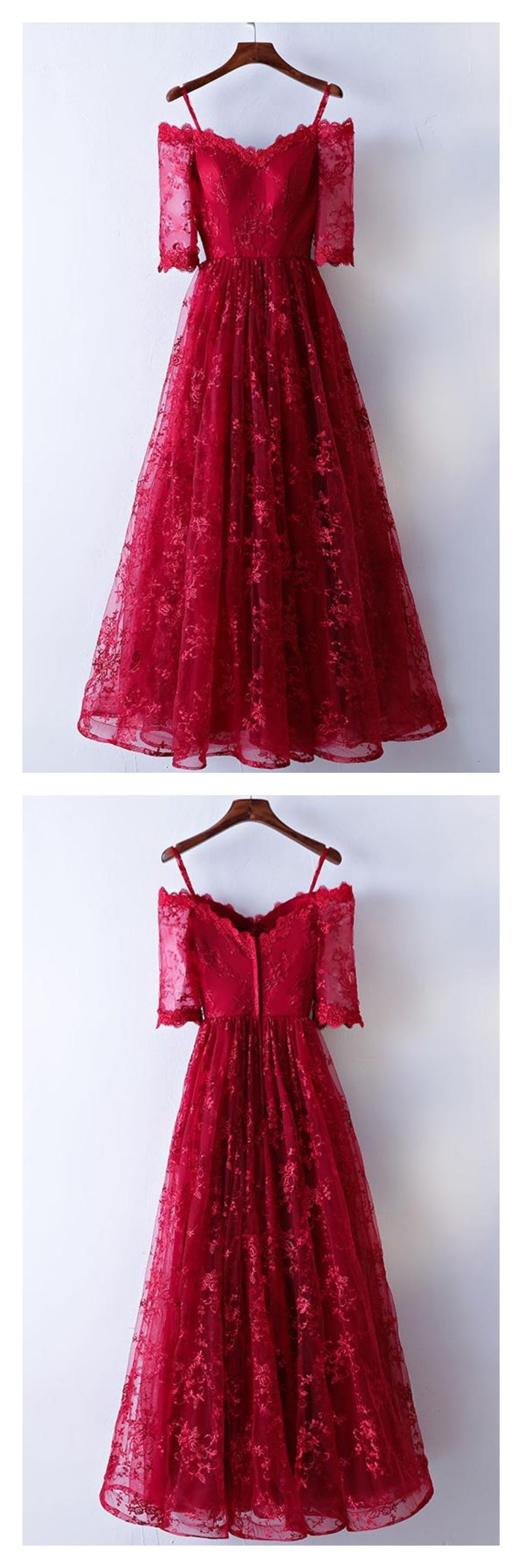 Red half sleeves long prom dresses with laceed in