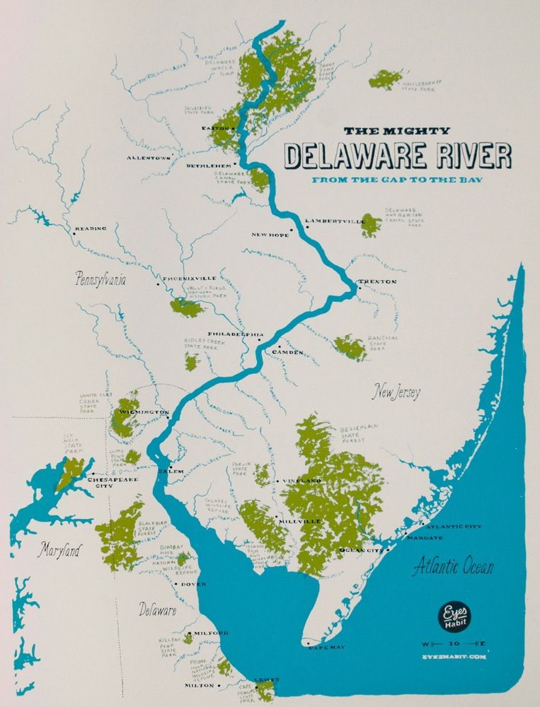 Delaware River Map from Eyes Habit | PHILLY | Buy Local | Delaware ...