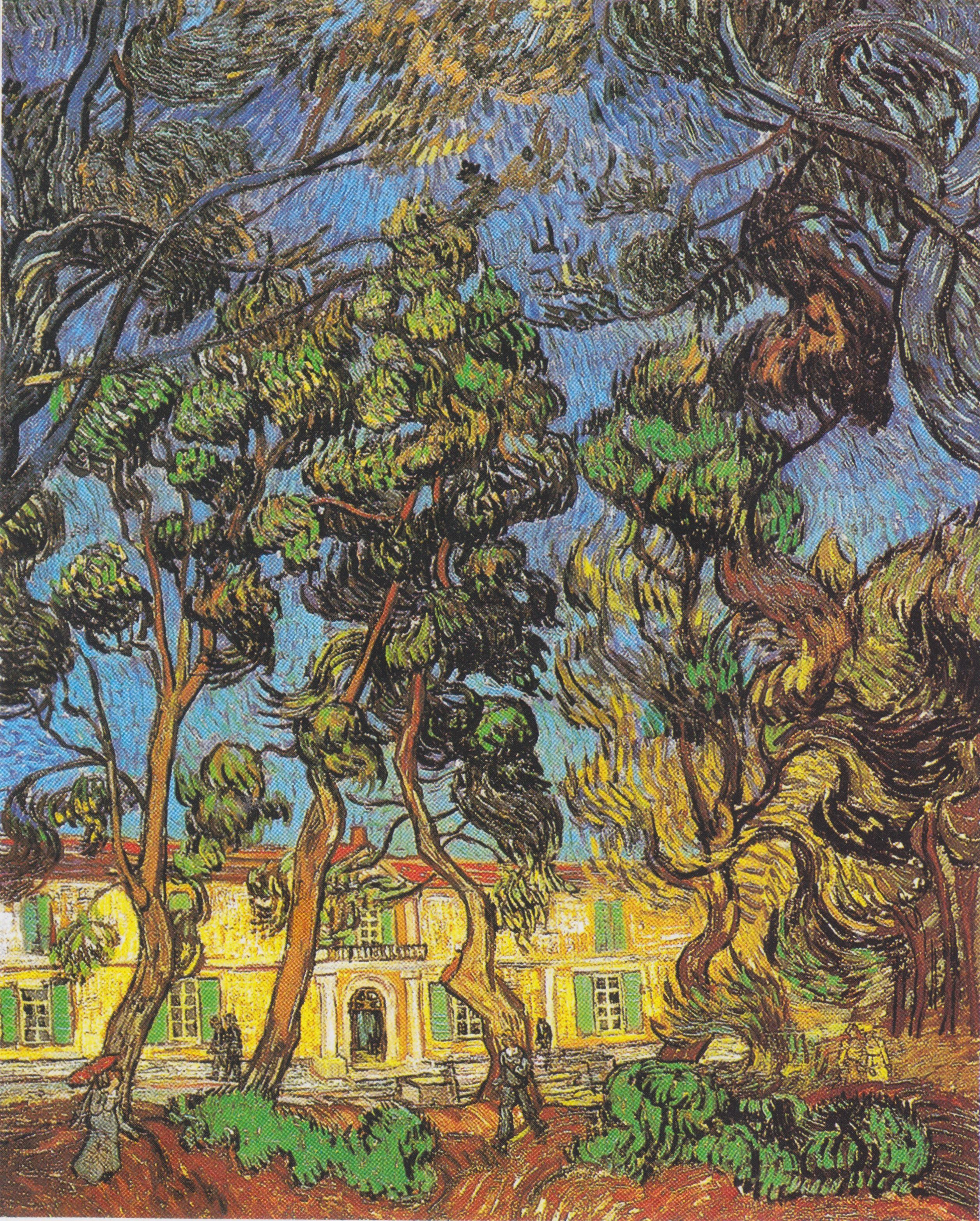 Unique Vincent van Gogh Trees in the Garden in Front of the Entrance to Saint