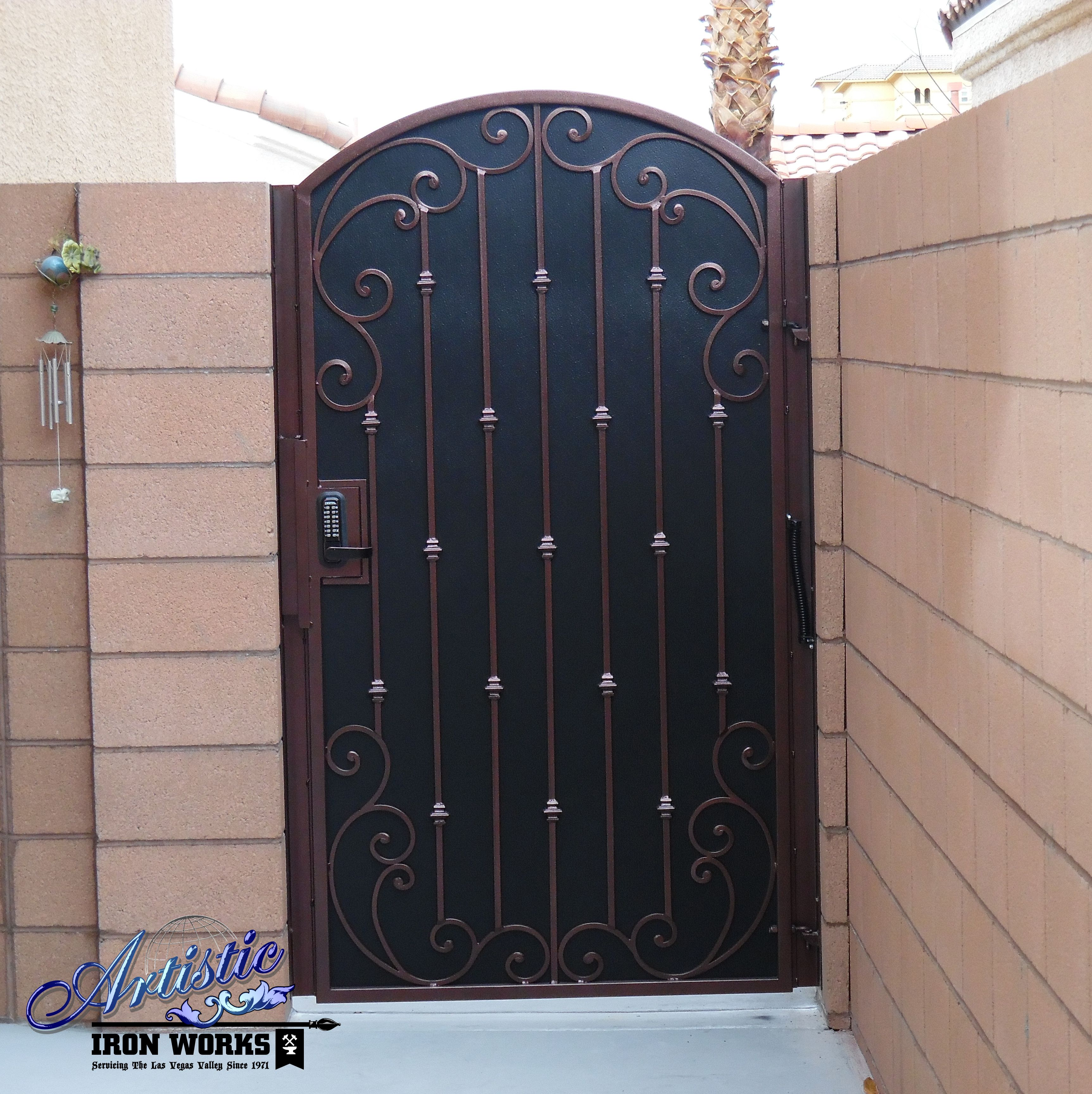 Wrought Iron Side Gate With Scrolls Knuckles And Perforated Screen Backing Powder Coated Burgundy Bla Metal Gate Door Iron Garden Gates Wrought Iron Gates