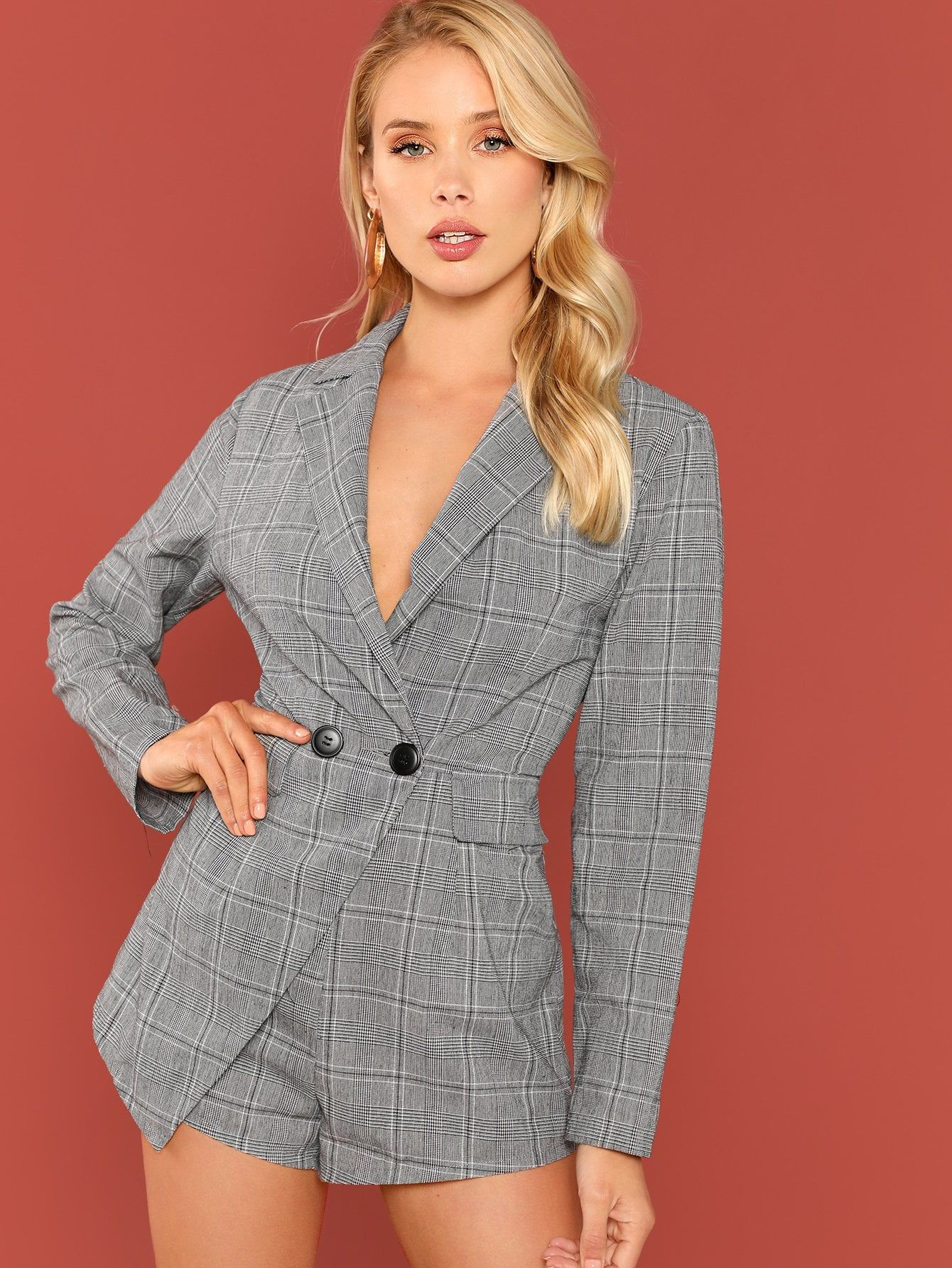 950b8e037ff6 Double Breasted Fitted Plaid Blazer Romper Fitted Breasted Double ...