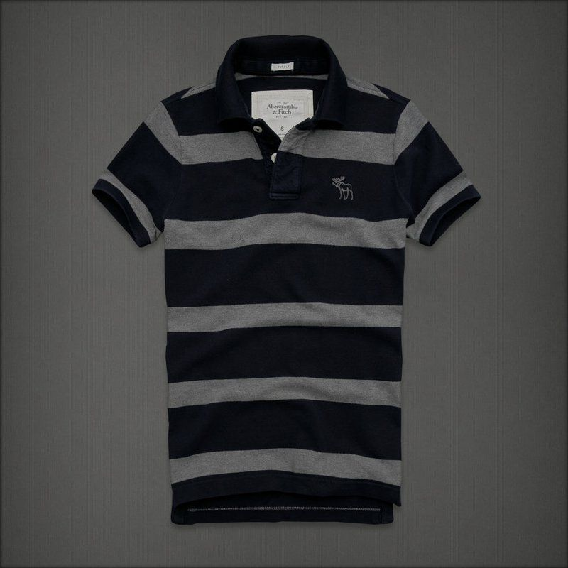 Cheap Abercrombie Fitch Mens Polo Strip Short T Shirts Aft1067