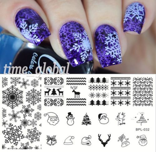 BORN-PRETTY-Nail-Art-Stamping-Plate-Xmas-Snowflake-Image-Stamp-Template-BP-L032