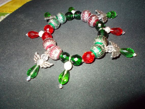 Christmas Angel Charm Bracelet  8 inch stretch by redbudcrafts, $15.00