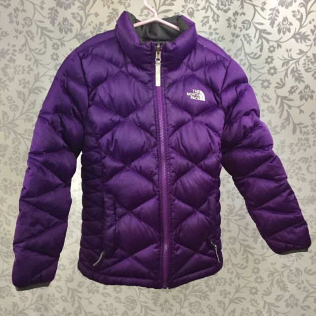 The North Face girls purple quilted down puffer jacket medium 10 12 coat  winter  13b15b10e
