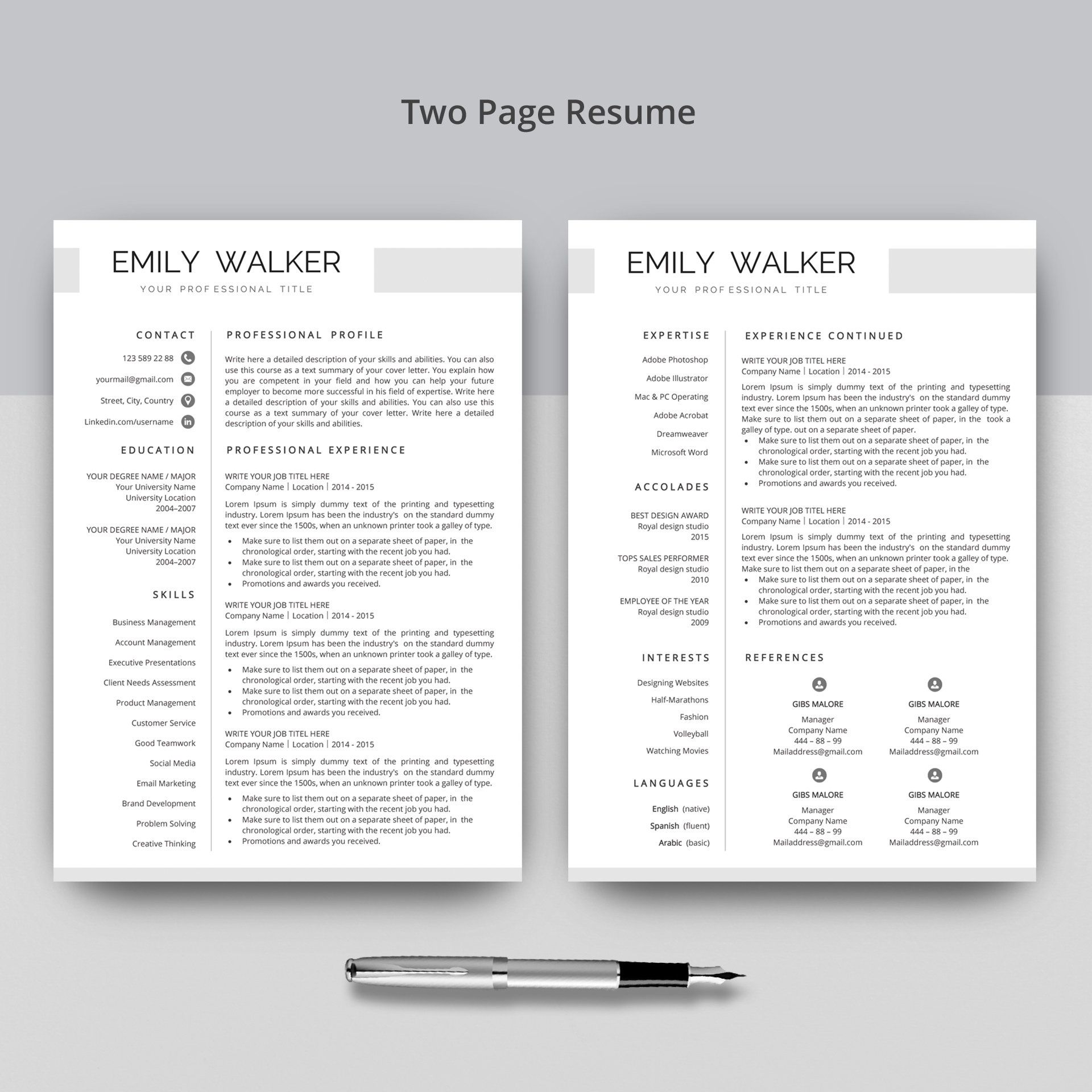 Creative Resume Template for Word + Free Cover Letter