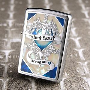Zippo Lighter SHELL DRAGON Blue x Silver 252090 Japan Model