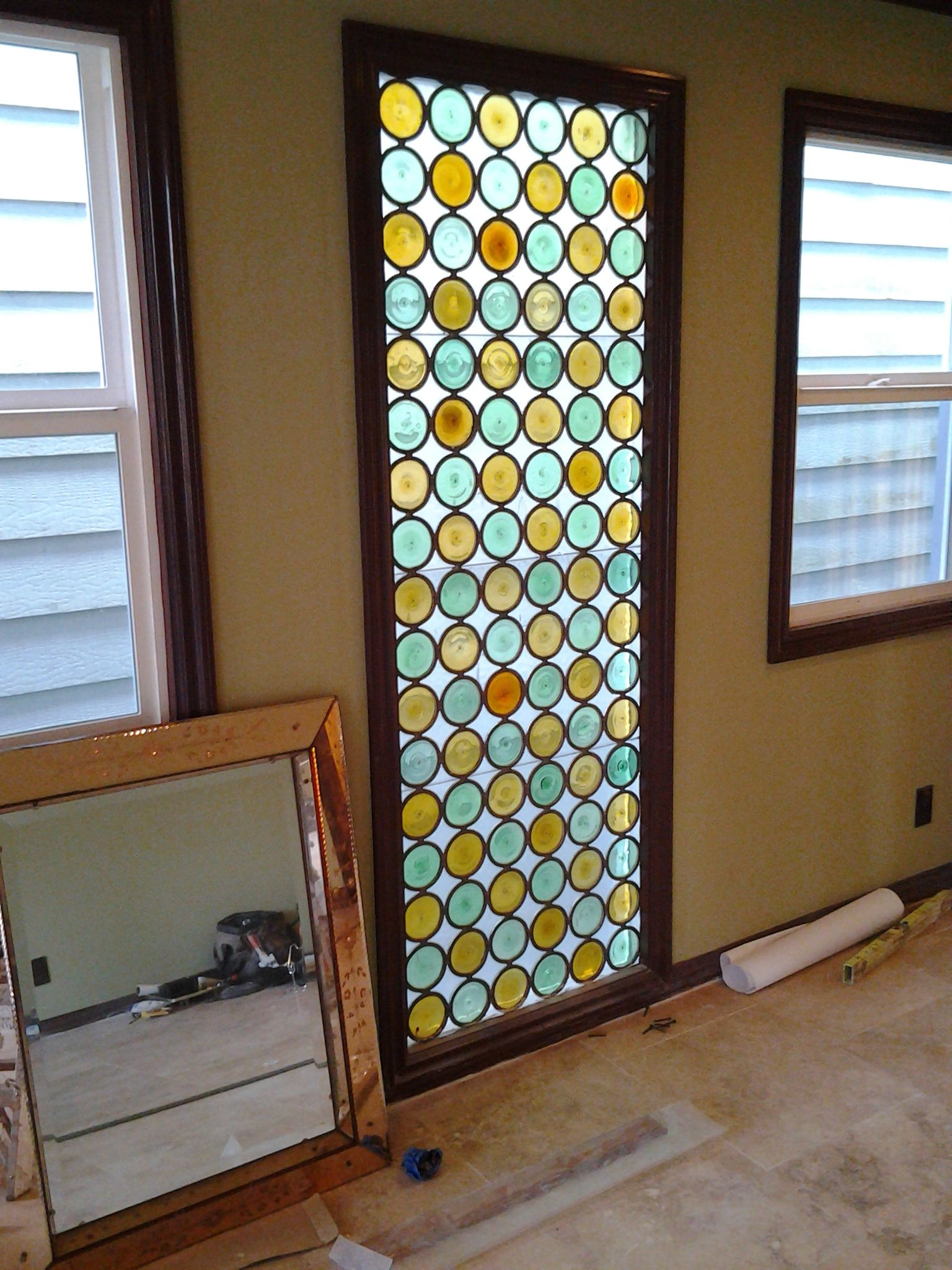Glass windows and doors  Vintage rondell glass window salvaged from the next door neighbor of