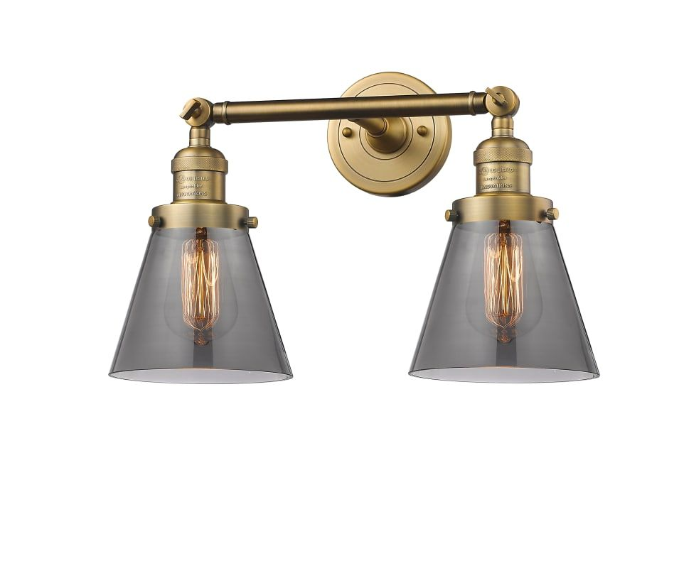 Photo of Innovations Lighting 208-AC-G62 Antique Copper / Clear Small Cone 2 Light 16″ Wide Bathroom Vanity Light with Multiple Shade Options