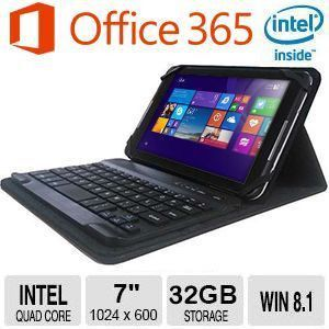 """7"""" Tablet – Intel® Quad Core 1.3GHz (Max Speed 1.83GHz),32GB Storage, 1024x600, Capacitive Multi touch, 2.0MP(R) + 0.3MP(F) Cam, WiFi, Bluetooth 4.0 Keyboard, Windows 8.1"""