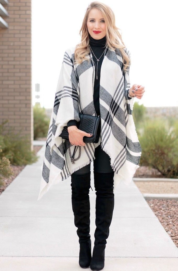 Plaid Poncho & Over the Knee Boots - Glamour-Zine