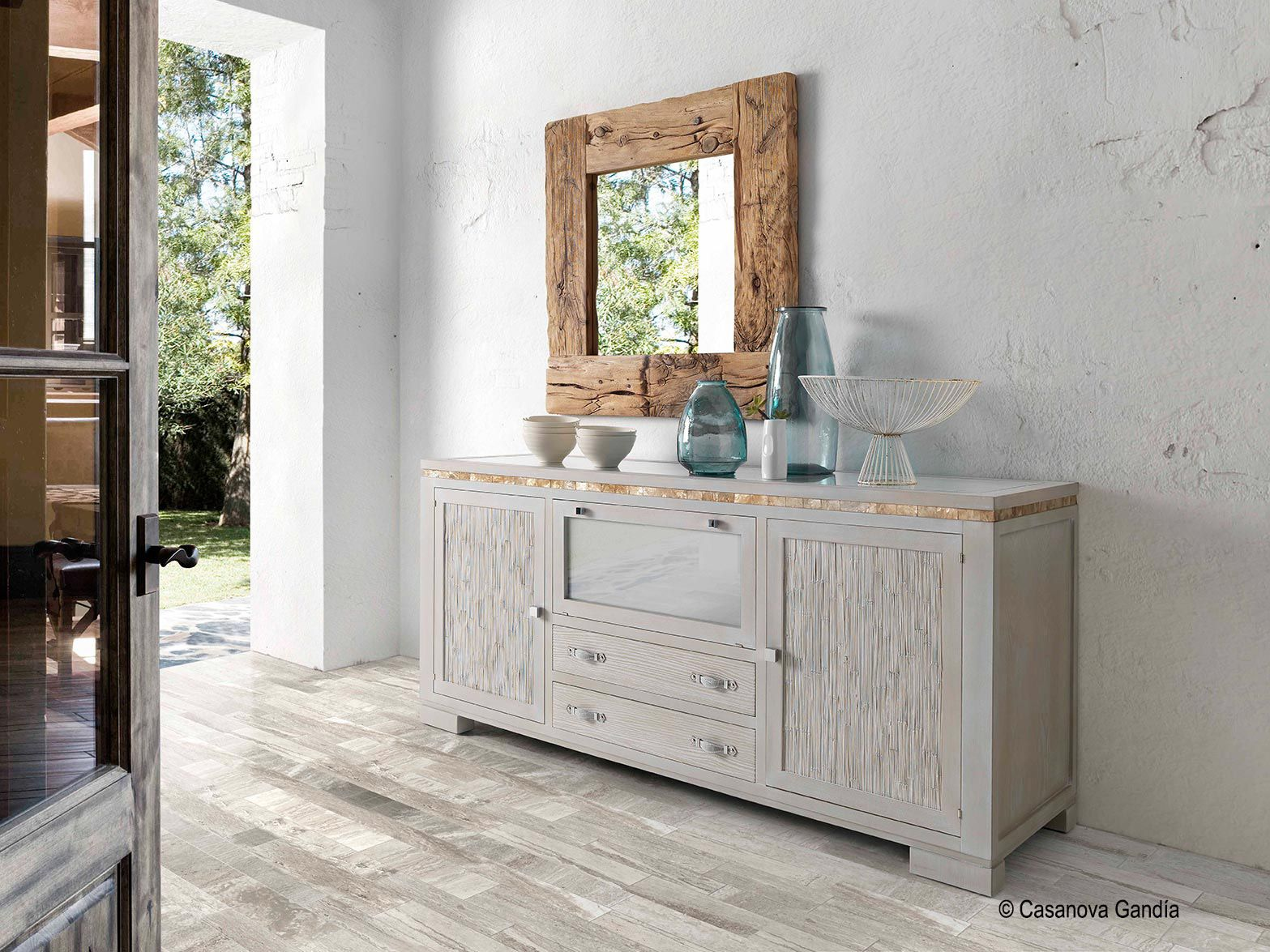 Aparador estilo tnico combinado con espejo de madera reciclada karey muebles estilo tnico - Espejos etnicos ...