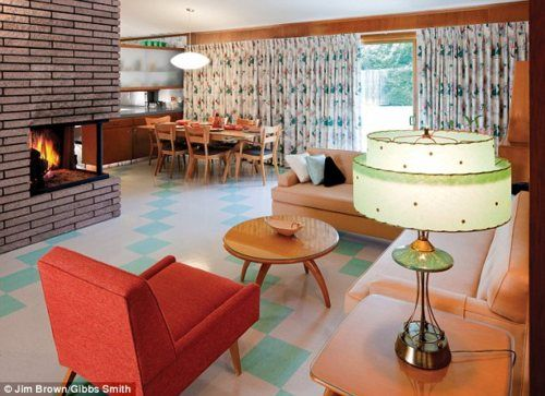 Fifties fanatic transformed her home into homage to mid-century decor (via A salmon-coloured carpet, avocado green bed cover and blonde wood EVERYWHERE: How Fifties fanatic transformed her home into homage to mid-century decor | Mail Online)