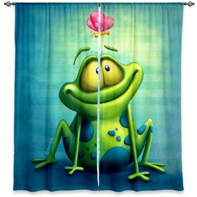 Window Curtains Unlined from DiaNoche Designs Artistic, Stylish, Unique, Decorative, Fun, Funky, Cool by Toosh Toosh The Frog II