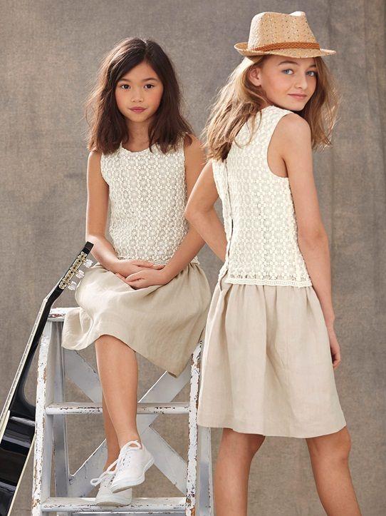 4cc3982fc10 Cyrillus robe fille lin beige été 16
