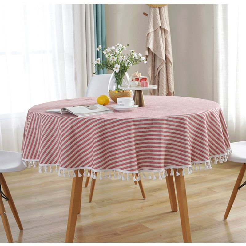 Striped Dust Proof Tassel Home Decorative Table Cover Cotton Linen For Kitchen Dining Table Round In 2020 Living Room Table Round Dining Table Dining Table In Kitchen