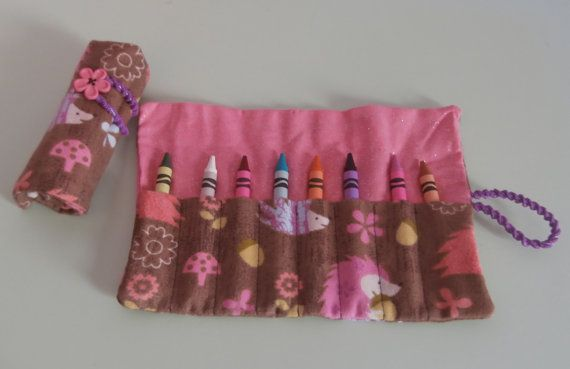 Pink Hedgehog Flannel Crayon Roll  Holds 816 Crayons by EmmisOwls, $5.00
