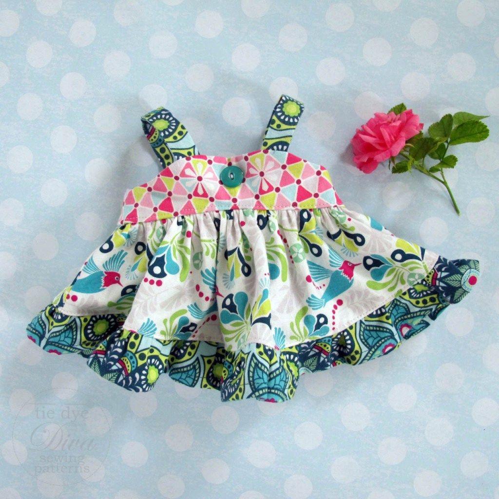 FREE Doll Dress Pattern - Riley Blake Flit & Bloom Blog Tour #dolldresspatterns