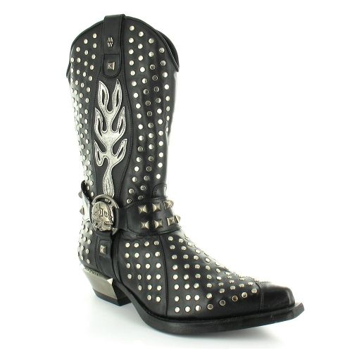 cf6f6fd989e New Rock New Rock M7928-S1 Mens and Womens Leather Studded Western ...