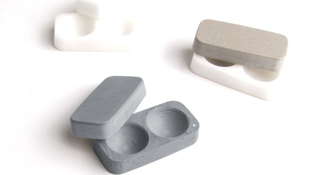 Contact lens case made out of stone