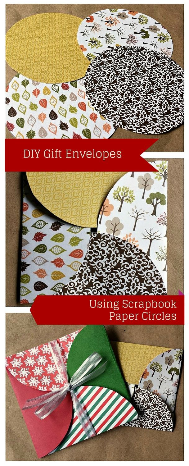 Paper gift envelope made with scrapbook paper circles scrapbook