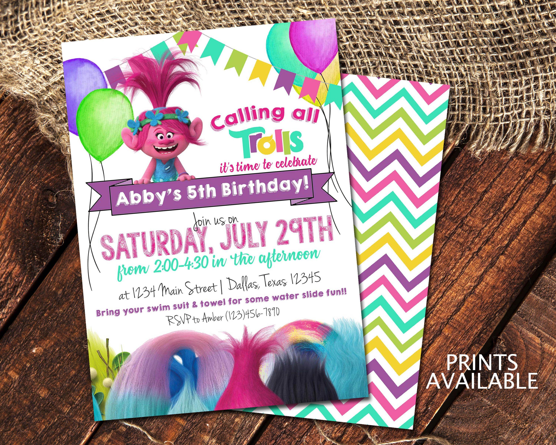TROLLS BIRTHDAY INVITATIONS | Princess Poppy Birthday Party Invite ...