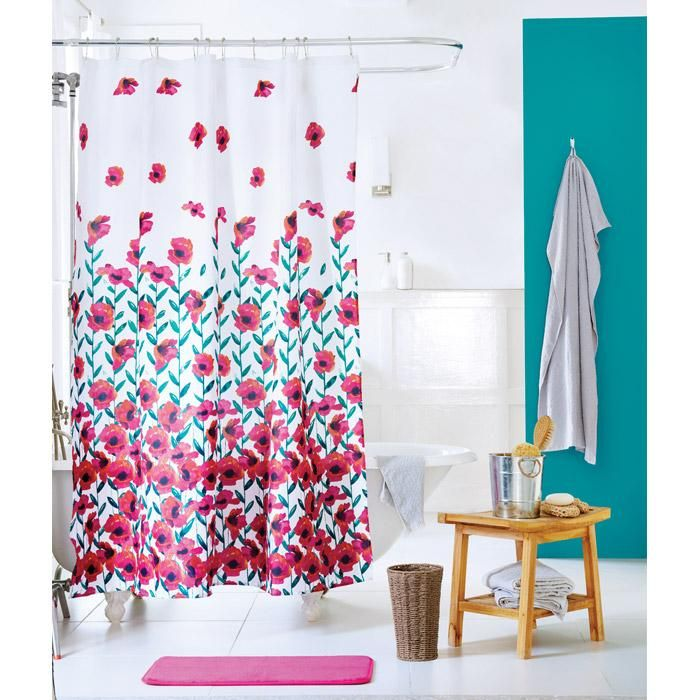Make Your Bathroom Bloom By Adding This Colorful Poppy Shower Curtain With Matching Bath Mat AVON