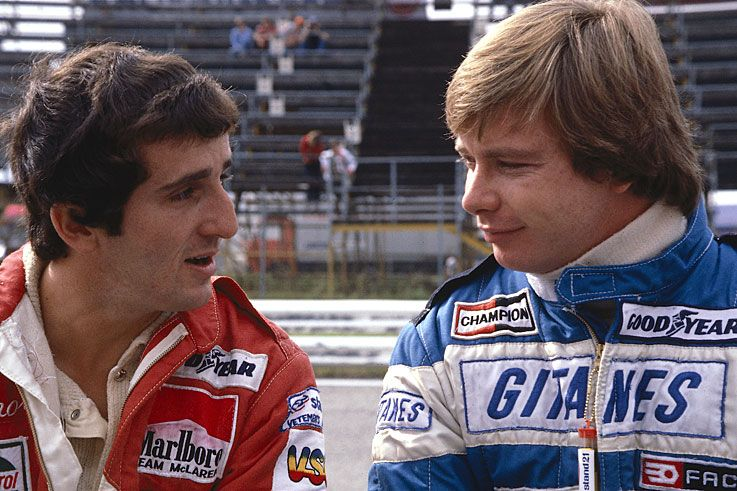 Alain Prost (pictured with Didier Pironi) makes his F1 debut, aged ...