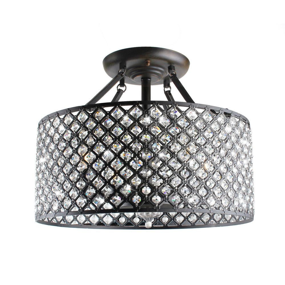 Ceiling Light Offers: Antique Bronze 4-light Round Crystal Ceiling Chandelier