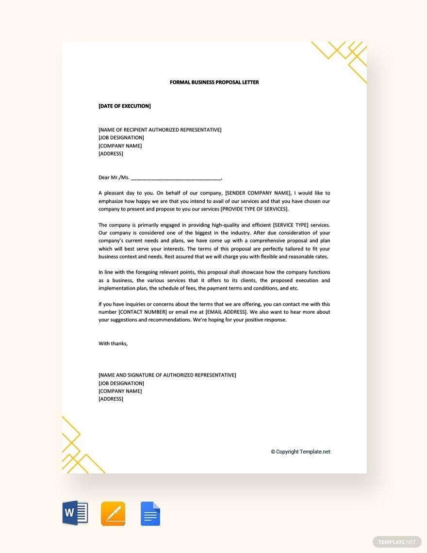 Free Formal Business Proposal Letter Proposal letter
