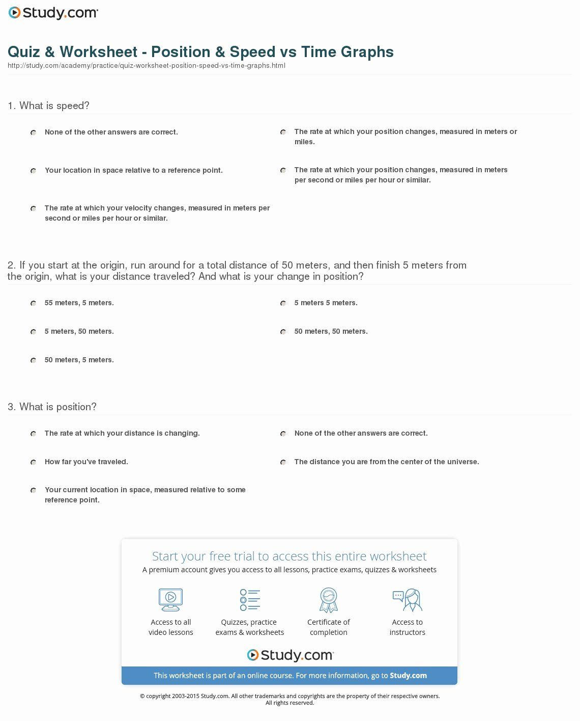 50 Position Time Graph Worksheet In With Images
