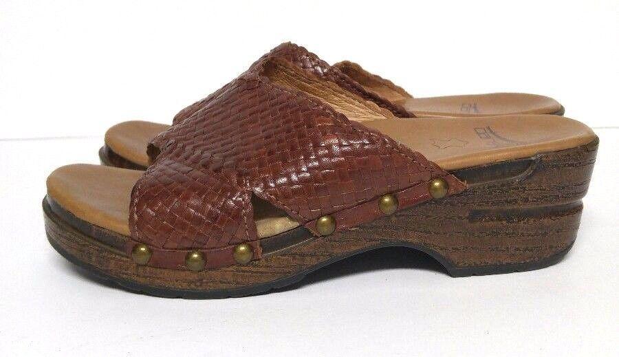 3d1e93a2ac41 Dansko Mila Sandals Shoes Platform Slides Woven Brown Clogs Womens 5.5 6 M   Dansko  NursingUniform