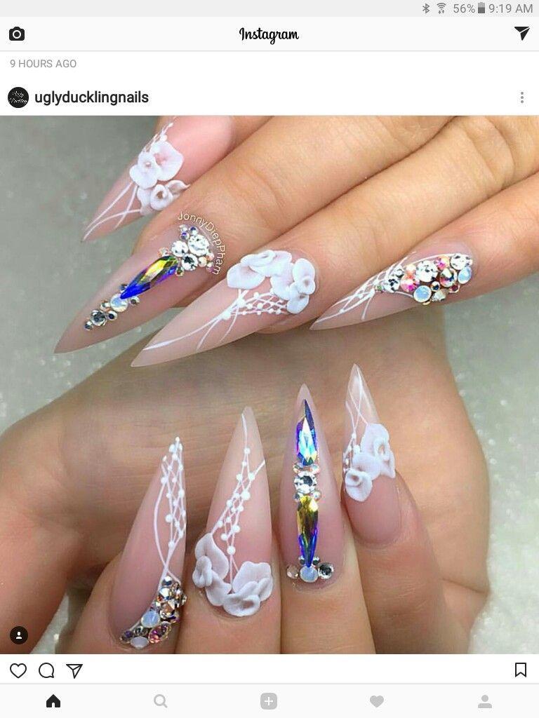 Nude, White, and Diamond stud ballerina nails | Ooo La La Nails ...