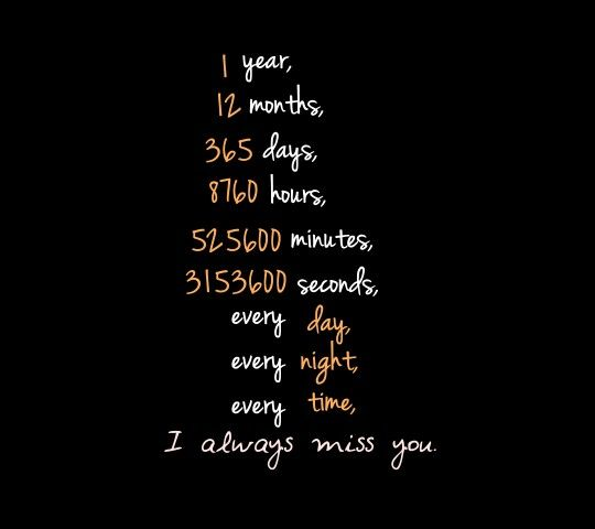 1 year 12 months 365 days 8,760 hours 525,600 minutes 3,153,600 seconds  Every day Every night Every time I ALWAYS miss you!