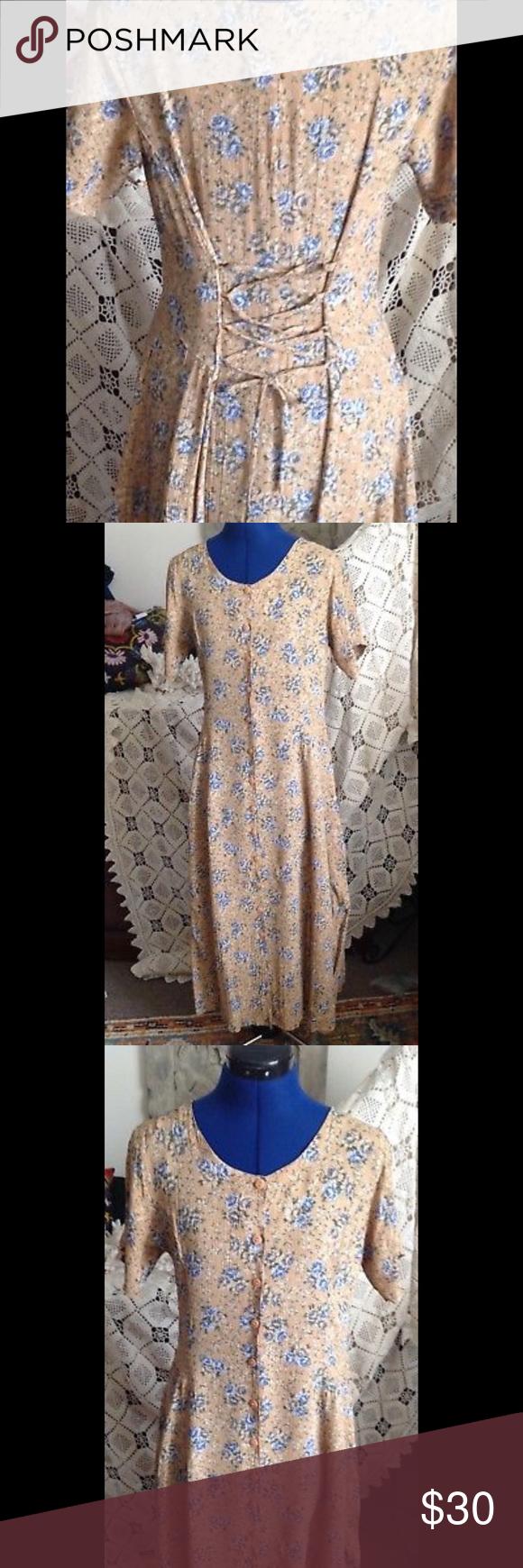 S corset back rayon dress floral gold blue my posh closet