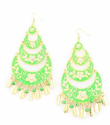 Get ready for St. Patrick's day!  Green Persian Bloom Enamel Chandelier Earrings – La De Da Too