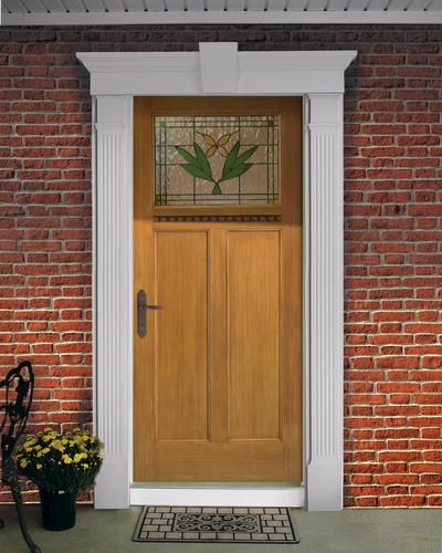Example Of Front Door Kit With Fluted Columns And Keystone