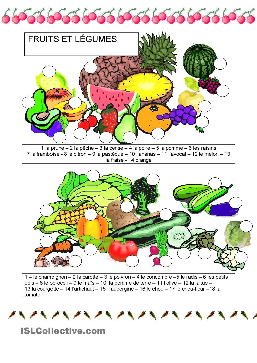 Fle vocabulaire french vocabulary fruits l gumes for Anglais vocabulaire cuisine