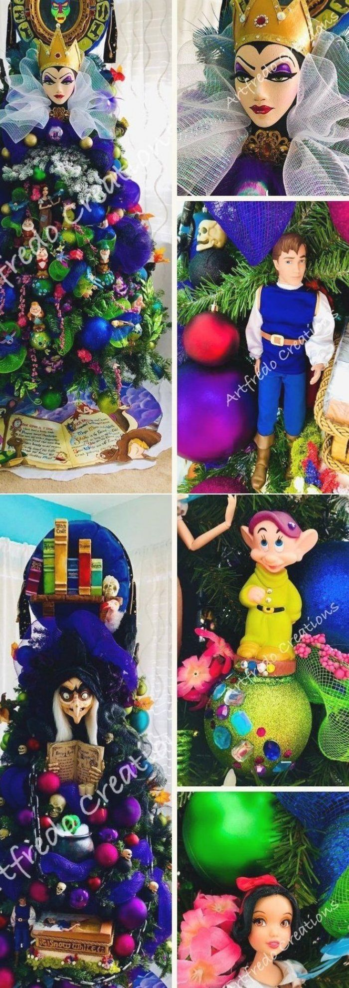 Most of the decorations for the Disney-themed Christmas tree are handmade  sculpted and painted  except for the dwarfs    #disneyinspiredchristmastree #christmastree #disneychristmastree #christmastreedecoration #christmasdecoration #snowhite #disney