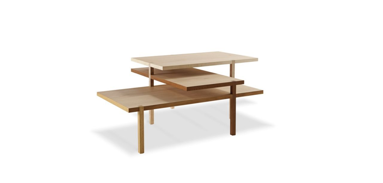 Includes 3 trays in natural oak veneer on MDF. The legs and sides are: For the top tray: in sycamore For the middle tray: in treated beech For the bottom tray: ...